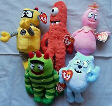 YO GABBA GABBA SET OF 5 TY BEANIE BABIES - ALL NEW WITH MINT TAGS