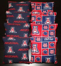 8 Cornhole Bean Bags made w Arizona Wildcats fabric Baggo Toss Game Top Quality