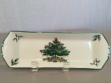 "Spode Christmas Tree 9"" x 3"" Serving Tray Made In England 2 Tiny Chips"