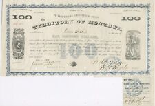 $100 Territory of Montana Bond – Issued in 1868, Redeemable in 1873