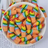 12x30mm Rainbow Color Resin Ice Cream Cones Cabochons Craft Decorations 10 pcs