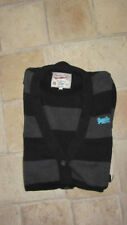 Womens SUPERDRY Knitted Black/Grey Striped Long Jumper Cardigan Size XS X- Small