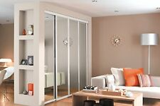 4 x Silver Frame Mirror Wardrobe Doorset & Interior Storage. Up to 2997mm wide