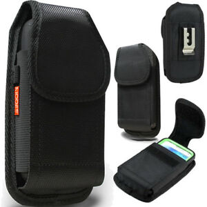 Black Rugged Nylon Holster Pouch Case Fits Smart Phone with Otterbox Cover ON