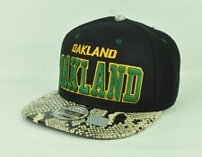 Oakland City  Animal Snake Skin Faux Black Green Snapback Flat Bill Hat Cap