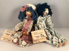 Clothes Peg Dolls Handmade Clowns Wood Cloth Yarn Lot Of 2