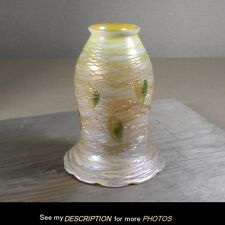 Antique Art Glass Electric Lamp SHADE Vine Threads Quezal Lustre Art era