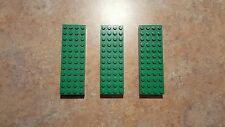 Lego green brick 4x12, part # 4202, lot of 3