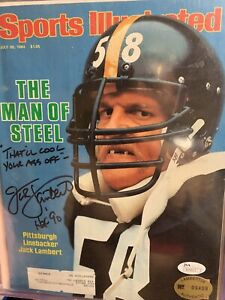 JACK LAMBERT & Jack Ham SIGNED SPORTS ILLUSTRATED STEELERS Rare Inscription COA