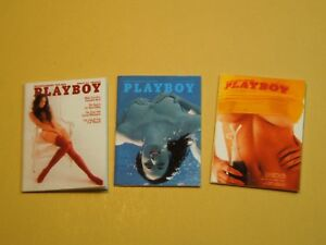 """Dollhouse Miniature 1"""" 1/12 Scale early 1970s Playboy Magazines - set of 3"""