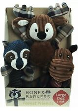Bone & Barkers Forest Friends 3 pack Rope Ball Fetch Toy Pack Large Dogs New!