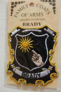 BRADY Family PATCH Heraldic Coat of Arms - Crest - Embroidered - Badge