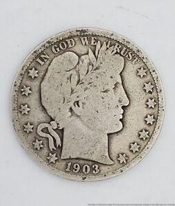 1903 Half Dollar 50 Cents Silver Coin Barber Head Circulated USA  American