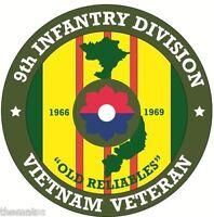 ARMY VIETNAM VETERAN 9TH INFANTRY DIVISION BUMPER CAR STICKER DECAL