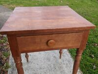 Antique One Drawer Stand Signed Seneca Ohio Cabinetmaker 19th Century Country