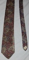 Vintage Liberty Of London Men's Neck Tie Red Gold Blue Grey Paisley 100% Silk