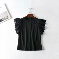 Lady Lace Floral T Shirt Top Knitted Blouse Mesh Puff Short Sleeve Punk Slim New