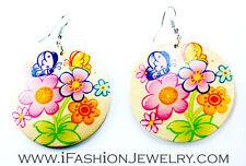 Handmade Art Butterfly Flower Cartoon Paint Wood Round Hook Earrings Hip Jewelry