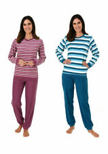 Damen Frottee Pyjama mit Rundhals Ringel Uni Hose 62958