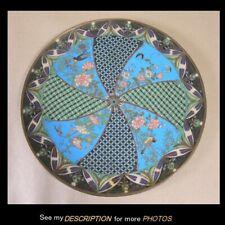 "Antique Cloisonne 12"" Charger / Plate Floral and Bird Decoration"