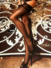 BALLERINA 259- SHEER BLACK SIDE SEAM PATTERN LACE TOP HOLD UPS SIZE SMALL MEDIUM