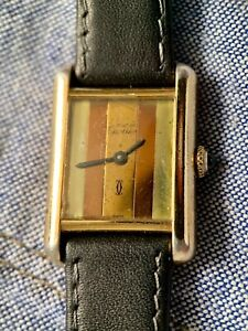CARTIER TANK TRICOLOUR 1970s GOLD PLATED SILVER 925 HALLMARKED WRISTWATCH