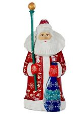 Vintage Hand Carved & Panted Santa Claus Wooden Figure Large Collectible