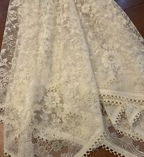 Beautiful Vintage Cream Lace Net Square Tablecloth 140cm Perfect Condition