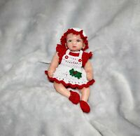 "5 "" In New OOAK Polymer Clay Silicone Baby Mini Christmas Doll Clothes Clothing"
