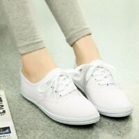 Classic Womens Canvas Casual Sneakers Tennis Flats Ladies Plimsoll Shoes Lace
