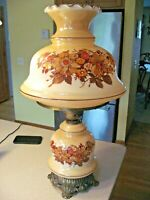 "Vintage L&LWMC 1971 Brown Flowers Gone With The Wind 3 Way Hurricane Lamp 26""T"