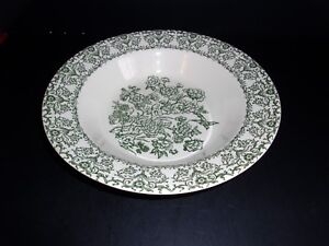 Royal China Serving Bowl Green Flowers USA Pottery