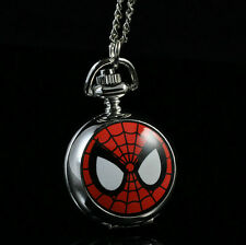 Marvel Super Heros Spiderman Necklace Pocket Watch Child Boy Watch Fashion Sp
