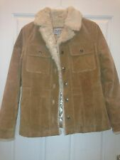 Wilson Leather Maxima Ladies Beige Tan Suede Lined Jacket Coat Size S