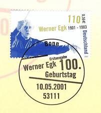 BRD 2001: Werner Egk Nr 2186 mit sauberem Bonner Ersttagssonderstempel! 1A! 1704