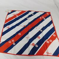 """Paoli Red Blue White Striped Scarf With Flowers 20""""x20"""" Fourth of July America"""