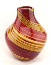 "New 9"" Hand Blown Glass Art Vase Bottle Red Brown Teardrop Italian Decorative"