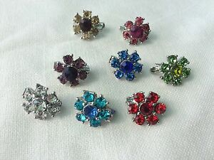 Any 4pcs fashion women crystal flower mini brooch hijab pin