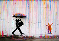 BANKSY Coloured Rain canvas wall art Wood Framed Ready to Hang XXL