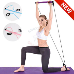 Pilates Exercise Stick Toning Bar Fitness Home Yoga Gym Body Workout Rope Puller
