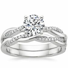 1.05 Ct Twisted Moissanite & Natural Diamond Wedding Ring Set In Sterling Silver