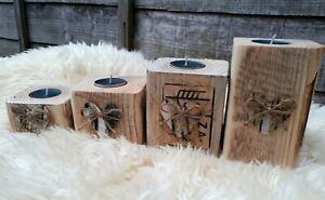 4Lovely Birch Heart Wooden Tea Light Candle Holders Wedding gift Christmas light
