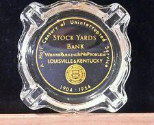 Stockyards Bank Louisville KY Glass Ashtray 1954 Vintage