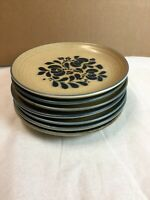 Vintage Pfaltzgraff Folk Art Pottery Dinnerware Brown Set of 7 Large Diner Plate