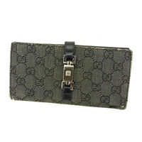 Gucci Wallet Purse Long Wallet GG Black Silver Woman Authentic Used Y4722
