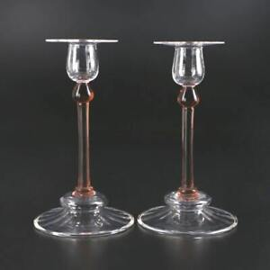 "Vintage Steuben Glass 8"" Clear & Rose - Cranberry CANDLESTICKS Signed - VG Cond"