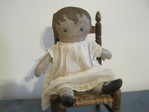 Old Primitive Oil Cloth Painted Face Rag Doll Found in New England AAFA