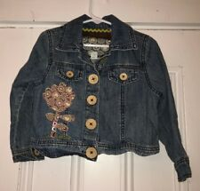 Naartjie Kids Girls Floral Embroidered Jean Jacket Cork Buttons Sz XS 3Y