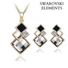 collier boucles d'oreilles Swarovski® Elements carrés noir/doré  plaqué or jaune
