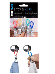 Chef Aid 5 Pack Colourful Towel Clips, Kitchen Storage Loops Tea Towels Gift 5PC